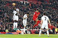 Emre Can of Liverpool heads towards goal but sees his effort saved. Premier League match, Liverpool v Sunderland at the Anfield stadium in Liverpool, Merseyside on Saturday 26th November 2016.<br /> pic by Chris Stading, Andrew Orchard sports photography.