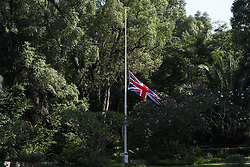 The Union flag flies at half mast outside Eden Hall, the British High Commissioner's official residence in Singapore, following the London terror attack.