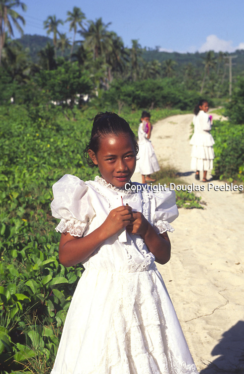 Going to church, Upolu, Samoa, NMR (editorial use only, no model release)<br />