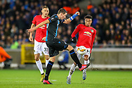 Club Brugge midfielder Hans Vanaken (20) clears the ball from Manchester United midfielder Jesse Lingard (14) during the Europa League match between Club Brugge and Manchester United at Jan Breydel Stadion, Brugge, Belguim on 20 February 2020.