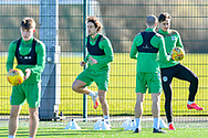Joe Newell (#11) of Hibernian FC (centre) during the training session for Hibernian FC at the Hibs Training Centre, Ormiston, Scotland on 26 February 2021, ahead of the SPFL Premiership match against Motherwell.