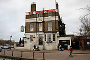 The White Cross pub in Richmond on 11th January 2020 in London, England, United Kingdom. This Victorian pub dates back to 1780 and was originally called the Waterman's Arms. It was rebuilt in 1838, and changed its name to The White Cross in 1840.