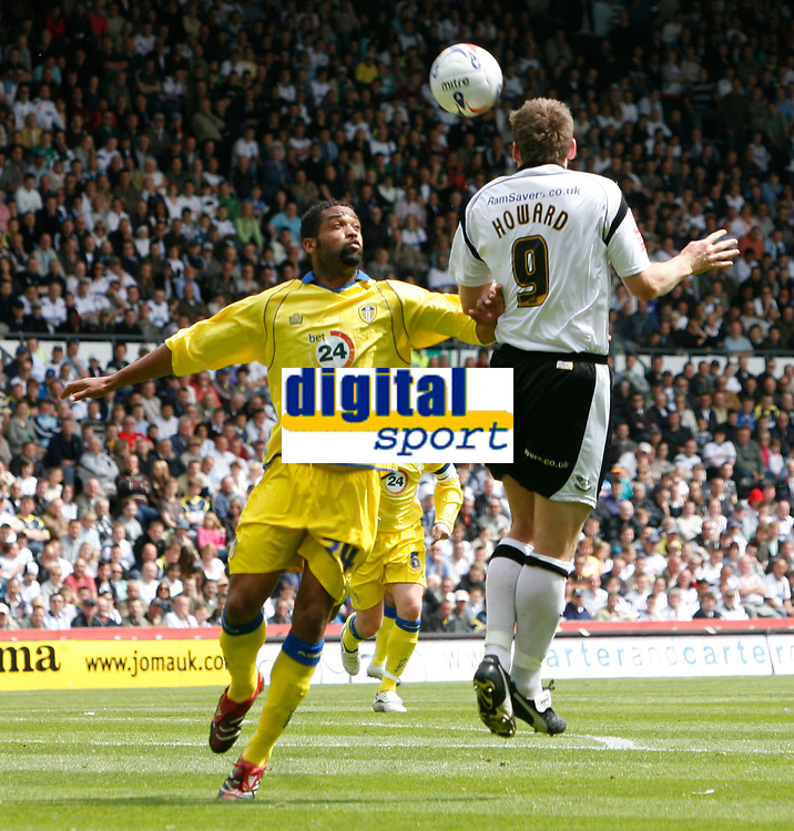 Photo: Steve Bond.<br />Derby County v Leeds United. Coca Cola Championship. 06/05/2007. Steve Howard (R) wins the ball in the air as Jamal Johnson (L) follows up