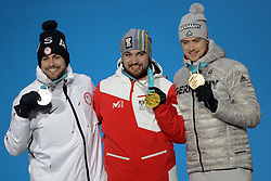 February 12, 2018 - Pyeongchang, South Korea - CHRIS MAZDZER of the United States , DAVID GLEIRSCHER of Austria and JOHANNES LUDWIG of Germany with their medals from the Men's Singles Luge event in the PyeongChang Olympic games. (Credit Image: © Christopher Levy via ZUMA Wire)