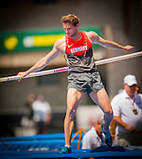 BJORN OTTO (GER) competes in the Mens Pole Vault competition during the second day of the Diamond League event Prefontaine Classic held at the University of Oregons Hayward Field.The Prefontaine Classic is named for University of Oregon track legend Steve Prefontaine. Kynard finished second in the event. Otto finished second in the event.