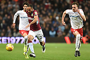 Aston Villa defender Ahmed Elmohamady (27) sprints forward with the ball during the EFL Sky Bet Championship match between Aston Villa and Nottingham Forest at Villa Park, Birmingham, England on 28 November 2018.