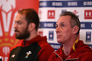 Wales coach Robert Howley (r) speaks to the press during the Wales Rugby team announcement press conference at the Vale Resort, Hensol near Cardiff, South Wales on Wednesday 8th March 2017. The team are preparing for the the RBS Six nations match against Ireland.  pic by  Andrew Orchard, Andrew Orchard sports photography.
