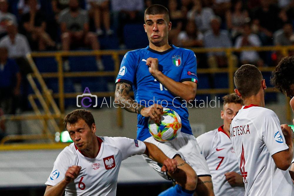 """Foto Alessandro Castaldi<br /> 19/06/2019 Bologna (Italia)<br /> Sport - Italia - Pologna - UEFA Campionati Europei Under-21 2019 - Stadio """"Renato Dall'Ara""""<br /> Nella foto: MANCINI GIANLUCA (ITALY)<br /> <br /> Photo Alessandro Castaldi<br /> June 16, 2019 Bologna (Italy)<br /> Sport Soccer<br /> Italy vs Poland - UEFA European Under-21 Championship 2019 - """"Renato Dall'Ara"""" Stadium <br /> In the pic: MANCINI GIANLUCA (ITALY)"""