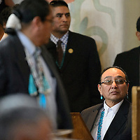 012714  Adron Gardner/Independent<br /> <br /> Navajo Nation Vice President Rex Lee Jim looks on during  the winter council session in Window Rock Monday.