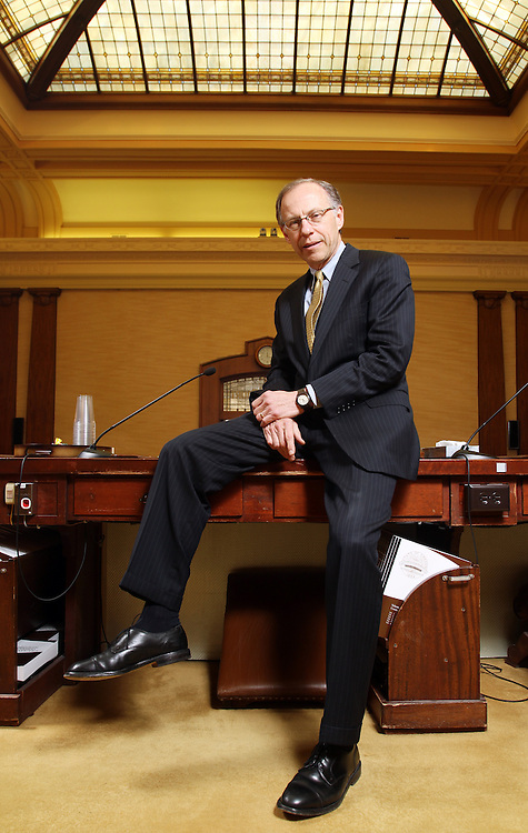 Tom Balmer, an associate justice of the Oregon Supreme Court, will soon be elevated to the position of Chief Justice. He poses in his office and the chambers of the Court on Monday, Feb. 27, 2012.