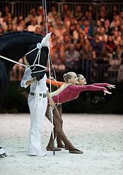 Evelyn Freund, Stefanie Millinger, (AUT), Robin 482, Nina Rossin - Pas de Deux Vaulting - Alltech FEI World Equestrian Games™ 2014 - Normandy, France.<br /> © Hippo Foto Team - Jon Stroud<br /> 04/09/2014