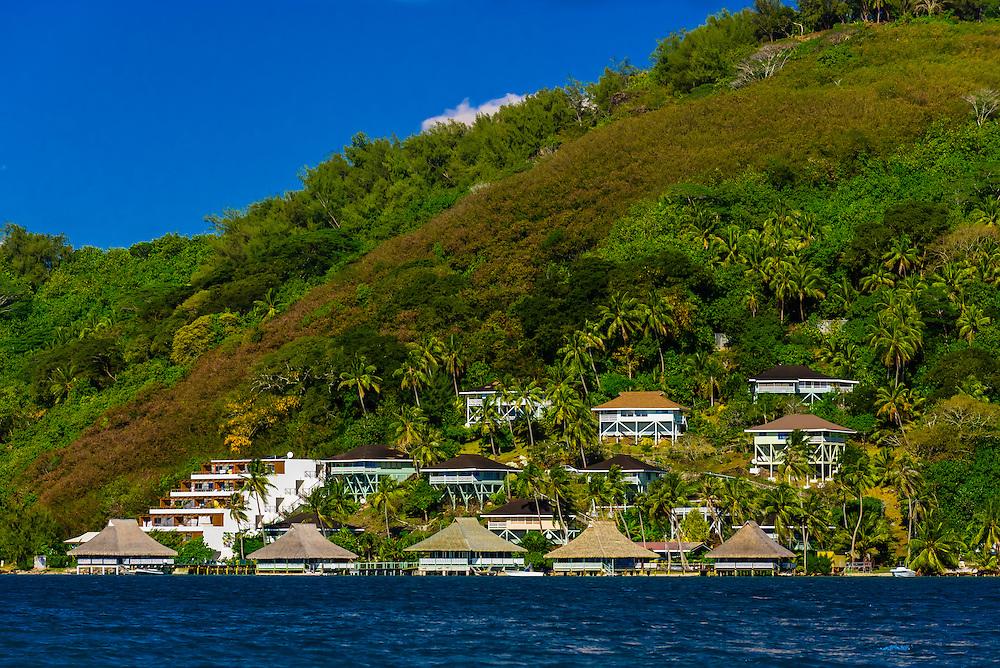 Houses, Bora Bora, French Polynesia.