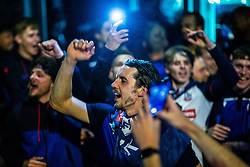 © Licensed to London News Pictures. 09/05/2021. Bolton, UK. M J WILLIAMS amongst the team celebrating with fans outside the club's hotel . Bolton Wonderers supporters celebrate outside the team hotel at the University of Bolton stadium after BWFC won promotion to League One following the team's 1-4 victory over Crawley Town . Photo credit: Joel Goodman/LNP
