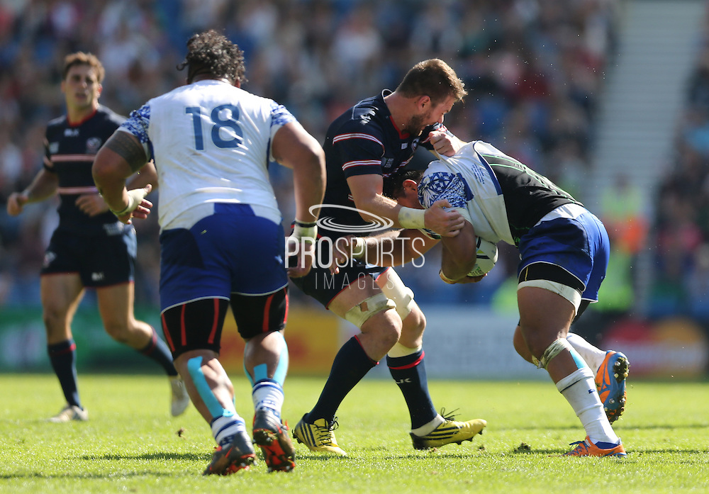 Samoa Ofisa Treviranus (captain) has his shirt pulled off during the Rugby World Cup 2015 match between Samoa and USA at the Brighton Community Stadium, Falmer, United Kingdom on 20 September 2015.