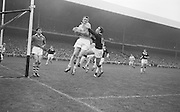 All Ireland Senior Football Final Galway v. Dublin 22nd September 1963 Croke Park..Dublin Full Back L. Foley catchs a high ball near own goalmouth and returns to earth with Galway Full Forward S. Cleary on right ..22.09.1963  22nd September 1963