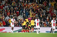 Ignatius Ganago of Lens celebrates his goal with teammates and the supporters during the French championship Ligue 1 football match between RC Lens (Racing Club de Lens) and Paris Saint-Germain (PSG) on September 10, 2020 at Stade Felix Bollaert in Lens, France - Photo Juan Soliz / ProSportsImages / DPPI