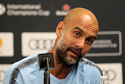 July 27, 2018 - Miami Gardens, FL, USA - Manchester City head coach Pep Guardiola during a news conference in advance of an International Champions Cup match against FC Bayern at Hard Rock Stadium in Miami Gardens, Fla., on Friday, July 27, 2018. (Credit Image: © Pedro Portal/TNS via ZUMA Wire)