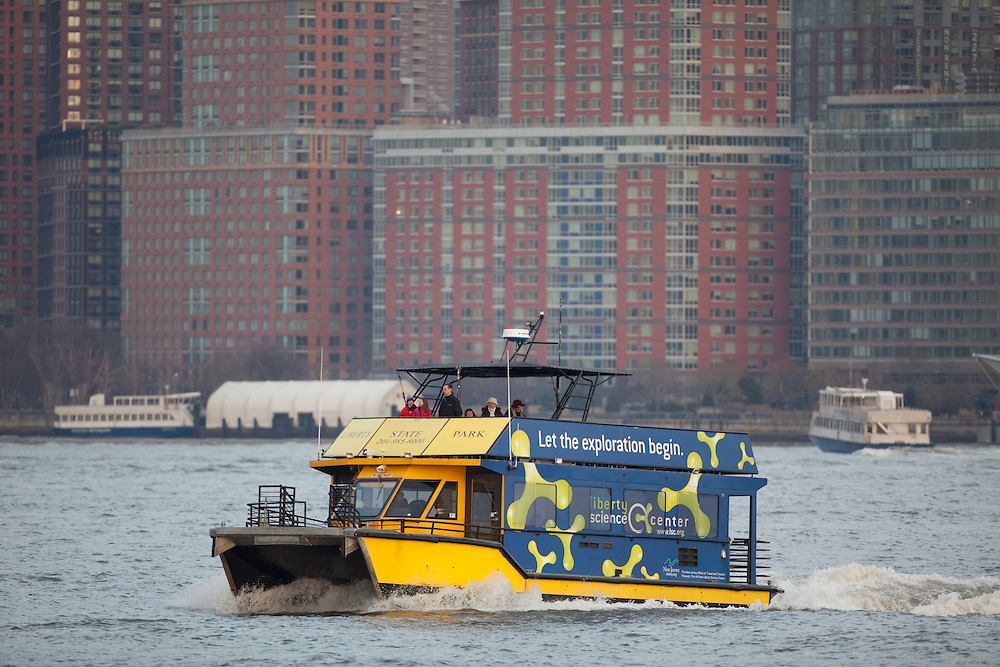 The Liberty State Park Water Taxi operates between the Liberty State Park and the World Financial Center in NYC.  This boat heads back to Jersey City