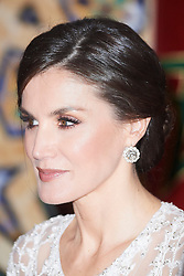 King Felipe VI of Spain, Queen Letizia of Spain, Mohammed VI of Morocco attends a Gala Dinner at Royal Palace on February 13, 2019 in Rabat, Morocco. The Spanish Royals are on a two day visit to Morocco. 13 Feb 2019 Pictured: Queen Letizia of Spain. Photo credit: MEGA TheMegaAgency.com +1 888 505 6342