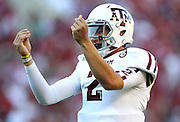TUSCALOOSA, AL - NOVEMBER 10:  Quarterback Johnny Manziel #2 of the Texas A&M Aggies celebrates after a touchdown during the game against the Alabama Crimson Tide at Bryant-Denny Stadium on November 10, 2012 in Tuscaloosa, Alabama.  (Photo by Mike Zarrilli/Getty Images)