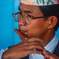 Amrit Rana, a Nepali folk musician, performs in Kathmandu, Nepal, 1996. (model released)