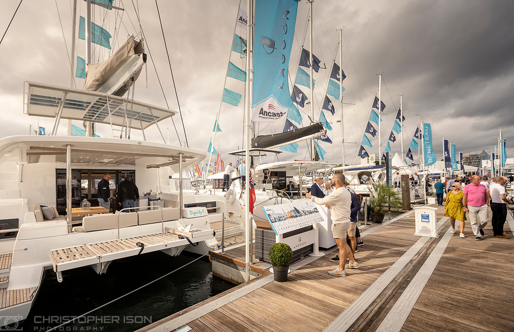 Beneteau and Lagoon at the Southampton International Boat Show.<br /> Shot for Ancasta International.<br /> Picture date: Friday September 10, 2021.<br /> Photograph by Christopher Ison ©<br /> 07544044177<br /> chris@christopherison.com<br /> www.christopherison.com<br /> <br /> IMPORTANT NOTE REGARDING IMAGE LICENCING FOR THIS PHOTOGRAPH: This image is supplied to the client under the terms previously agree. No sales are permitted unless expressly agreed in writing by the photographer.