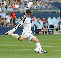 Football - Major League Soccer - Houston Dynamo at Sporting KC - The Sporting KC and the Houston Dynamo played to a 1-1 tie in regulation time at Sporting KC Park in Kansas City, Kansas, USA.  Houston Dynamo goalkeeper Tally Hall (1) kicks late in the first half. .