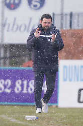 Dundee's manager Paul Hartley after Greg Stewart scored their second goal. <br /> Dundee 4 v 1 Motherwell, SPFL Premiership played 10/1/2015 at Dundee's home ground Dens Park.