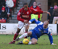 Photo: Dave Linney.<br />Walsall v Oldham Athletic. Coca Cola League 1. 18/02/2006Walsall's .Ishmel  Demontagnac(L) keeps the pressure on  Paul Ware