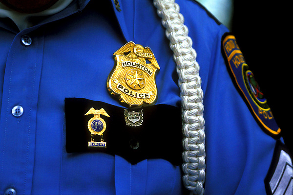 Stock photo of a close up of Houston Police uniform worn by an officer