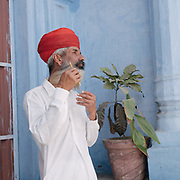 Rajahstani man with big moustach and beard.  Jodhpur is known as the Blue City.