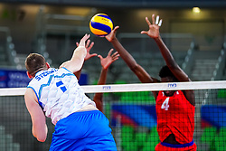 Toncek Stern of Slovenia during volleyball match between Cuba and Slovenia in Final of FIVB Volleyball Challenger Cup Men, on July 7, 2019 in Arena Stozice, Ljubljana, Slovenia. Photo by Matic Klansek Velej / Sportida