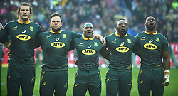 Cape Town-180623- Springbok players sing South African national anthem the  last game of the Castle Lager Test against England at Newlands Stadium photographer:Phando Jikelo/African News Agency/ANA