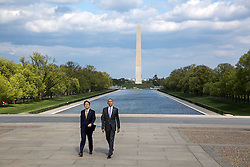President Barack Obama and Prime Minister Shinzo Abe of Japan walk from the Reflecting Pool toward the Lincoln Memorial in Washington, D.C., April 27, 2015. (Official White House Photo by Pete Souza)<br /> <br /> This official White House photograph is being made available only for publication by news organizations and/or for personal use printing by the subject(s) of the photograph. The photograph may not be manipulated in any way and may not be used in commercial or political materials, advertisements, emails, products, promotions that in any way suggests approval or endorsement of the President, the First Family, or the White House.