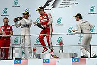 VETTEL sebastian (ger) ferrari sf15t ambiance portrait podium ambiance HAMILTON lewis (gbr) mercedes gp mgp w06 ambiance portrait<br /> ROSBERG nico (ger) mercedes gp mgp w06 ambiance portrait during 2015 Formula 1 FIA world championship, Malaysia Grand Prix, at Sepang from March 27th to 30th. Photo Eric Vargiolu / DPPI
