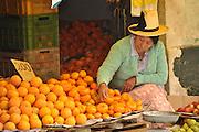 Peru, Huaraz, Indigenous woman at the local market