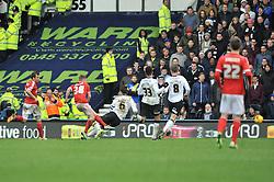Nottingham Forest's Ben Osborn scores the winning goal - Photo mandatory by-line: Dougie Allward/JMP - Mobile: 07966 386802 - 17/01/2015 - SPORT - Football - Derby - iPro Stadium - Derby County v Nottingham Forest - Sky Bet Championship