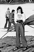 Grainne Cosgrave tries out the artificial dry ski slope created at the Kilternan Golf and Country Club. Aspiring skiers could learn the basics or improve techniques before embarking on a skiing holiday.<br /> 25/01/1976