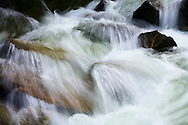 mountain river rapids flowing over river rocks