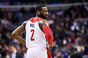 WASHINGTON, USA - January 16: Washington Wizards' John Wall (2) reacts during the game against the Portland Trail Blazers at the Verizon Center in Washington, USA on January 16, 2017. The Wizards defeated the Blazers 120-101.