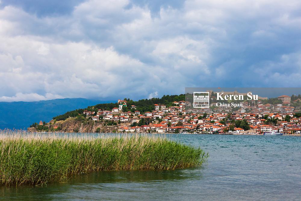 Tsar Samuil's Fortress with Ohrid cityscape on the shores of Lake Ohrid, Republic of Macedonia