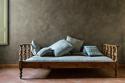 Wooden Frame Antique Sofa with Cushions