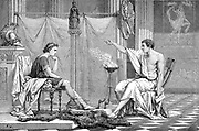 Alexander the Great 356-323 BC (Alexander III of Macedon) 356-323 BC as a youth listening to his tutor Aristotle (384-322 BC). Artist's reconstruction c1875. Wood engraving