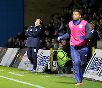 Preston North End manager Simon Grayson as his side hit the woodwork<br /> <br /> Photographer Ashley Western/CameraSport<br /> <br /> Football - The Football League Sky Bet League One - Gillingham v Preston North End - Tuesday 21st October 2014 - MEMS Priestfield Stadium - Gillingham<br /> <br /> © CameraSport - 43 Linden Ave. Countesthorpe. Leicester. England. LE8 5PG - Tel: +44 (0) 116 277 4147 - admin@camerasport.com - www.camerasport.com