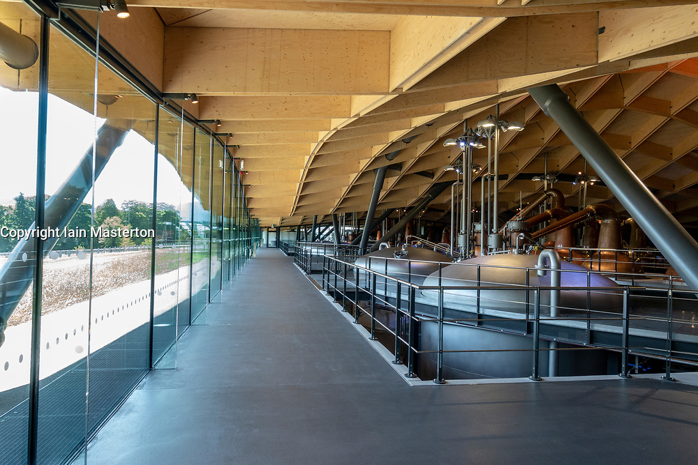 Interior of new Scotch Whisky distillery at The Macallan distillery in Craigellachie in Moray, Scotland, UK