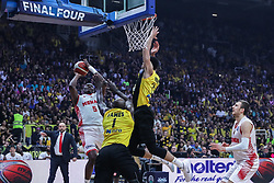 ATHENS, May 7, 2018  Sy Amara (L) of AS Monaco goes to the basket under the defence of James delroi (C) and Hander Roi of AEK Athens during the final match of Basketball Champions League in Athens, Greece, on May 6, 2018. AEK Athens won AS Monaco 100-94. (Credit Image: © Lefteris Partsalis/Xinhua via ZUMA Wire)