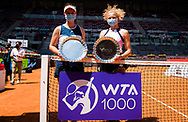 Katerina Siniakova and Barbora Krejcikova of the Czech Republic with their champions trophies after winning the doubles final of the Mutua Madrid Open 2021, Masters 1000 tennis tournament on May 8, 2021 at La Caja Magica in Madrid, Spain - Photo Rob Prange / Spain ProSportsImages / DPPI / ProSportsImages / DPPI