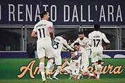 Foto Massimo Paolone/LaPresse <br /> 23 ottobre 2021 Bologna, Italia <br /> sport calcio <br /> Bologna vs Milan - Campionato di calcio Serie A TIM 2021/2022 - stadio Renato Dall'Ara<br /> Nella foto: Ismael Bennacer (A.C. Milan) esulta dopo aver realizzato il gol 2-3<br /> <br /> Photo Massimo Paolone/LaPresse <br /> October 23, 2021 Bologna, Italy <br /> sport soccer <br /> Bologna vs Milan - Italian Football Championship League A TIM 2021/2022 - Renato Dall'Ara stadium<br /> In the pic: Ismael Bennacer (A.C. Milan) celebrates after scoring goal 2-3