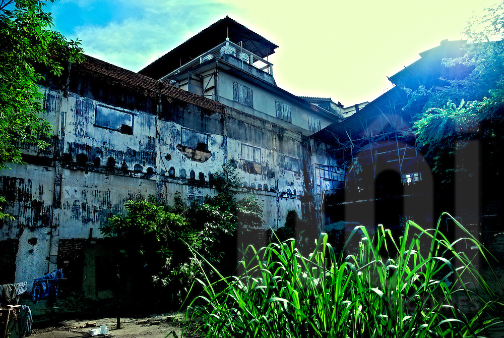 Backyard of old Vieng Sabay cinema in Vientiane, Laos, Asia. The building start to be in serious decay.