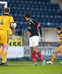 Falkirk's Lyle Taylor scoring their goal..Falkirk v Dumbarton, 16/4/2013.